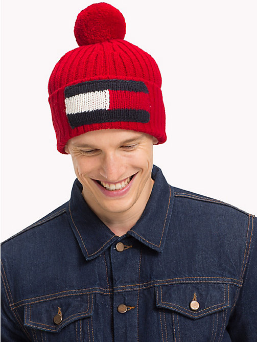 TOMMY HILFIGER Big Flag Knit Beanie - TOMMY RED - TOMMY HILFIGER Caps & Beanies - detail image 1