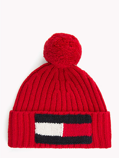 TOMMY HILFIGER Big Flag Knit Beanie - TOMMY RED - TOMMY HILFIGER Caps & Beanies - main image