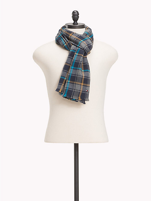TOMMY HILFIGER Check Cotton Scarf - BLUX MIX - TOMMY HILFIGER Scarves - main image