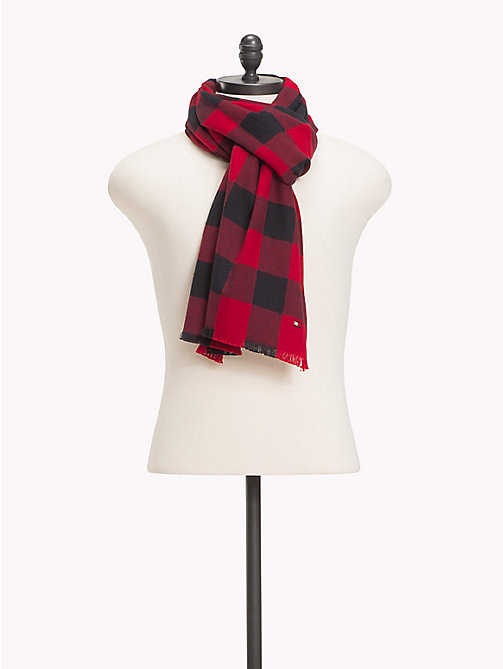 TOMMY HILFIGER Check Cotton Scarf - RED MIX - TOMMY HILFIGER Scarves - main image