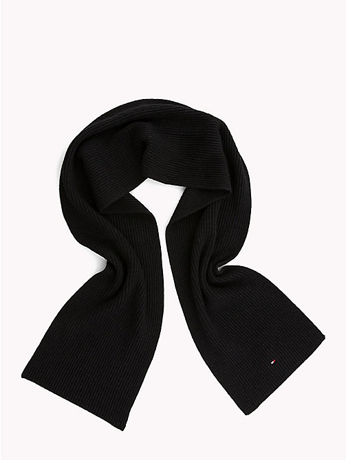 TOMMY HILFIGER Cotton Cashmere Scarf - BLACK - TOMMY HILFIGER Bags & Accessories - detail image 1