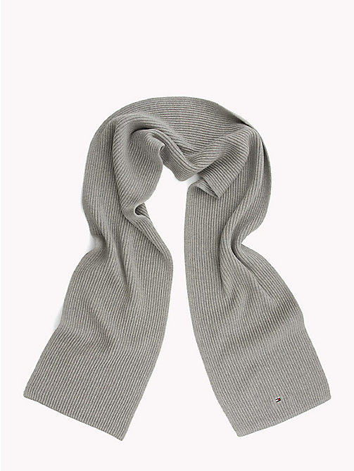TOMMY HILFIGER Cotton Cashmere Scarf - LIGHT GREY HEATHER - TOMMY HILFIGER Winter Warmers - detail image 1
