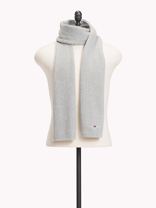 TOMMY HILFIGER Cotton Cashmere Scarf - LIGHT GREY HEATHER - TOMMY HILFIGER Scarves - main image