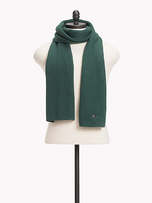 TOMMY HILFIGER Cotton Cashmere Scarf - RAIN FOREST - TOMMY HILFIGER Scarves - main image