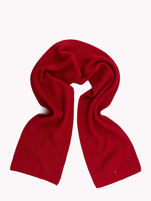 TOMMY HILFIGER Cotton Cashmere Scarf - TOMMY RED - TOMMY HILFIGER Winter Warmers - detail image 1