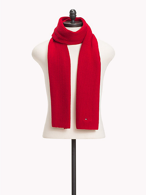 TOMMY HILFIGER Cotton Cashmere Scarf - TOMMY RED - TOMMY HILFIGER Winter Warmers - main image