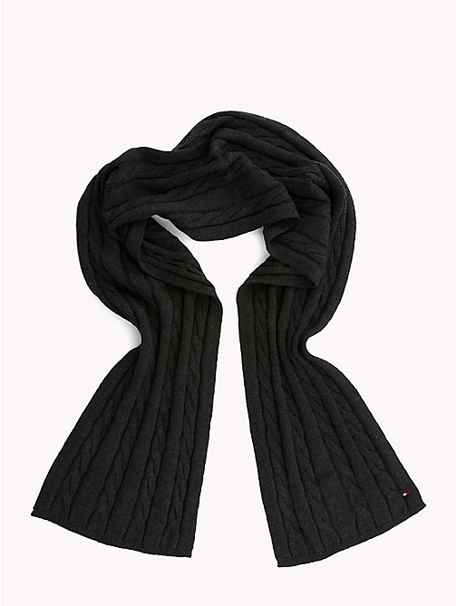 TOMMY HILFIGER Cable-Knit Scarf - CHARCOAL HTR - TOMMY HILFIGER Winter Warmers - detail image 1