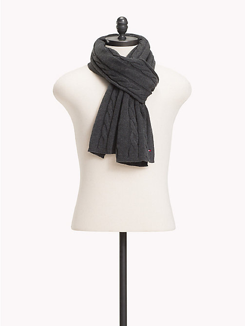 TOMMY HILFIGER Cable-Knit Scarf - CHARCOAL HTR - TOMMY HILFIGER Winter Warmers - main image