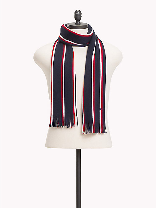 TOMMY HILFIGER Pure Wool Signature Scarf - TOMMY NAVY MIX - TOMMY HILFIGER NEW IN - main image