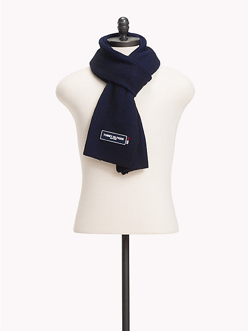 TOMMY HILFIGER Gebreide sjaal met Tommy-patch - TOMMY NAVY MIX - TOMMY HILFIGER Sjaals - main image