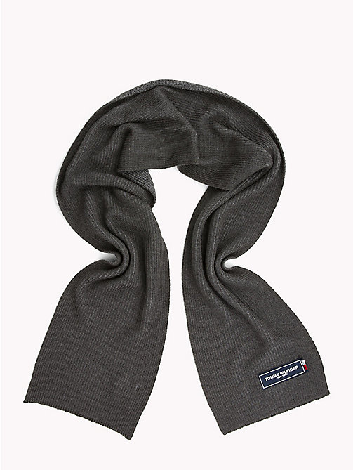 TOMMY HILFIGER Tommy Patch Knit Scarf - LIGHT GREY MIX - TOMMY HILFIGER Scarves - detail image 1