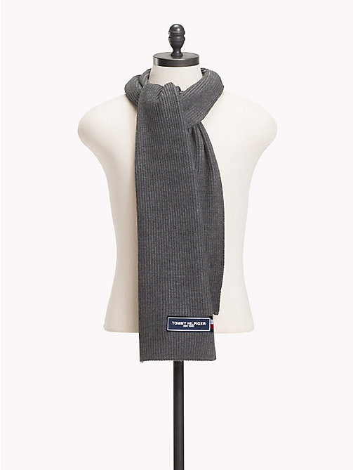 TOMMY HILFIGER Gebreide sjaal met Tommy-patch - LIGHT GREY MIX - TOMMY HILFIGER Sjaals - main image