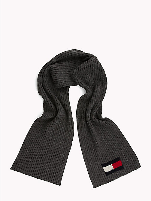 TOMMY HILFIGER Flag Knit Scarf - CHARCOAL HTR - TOMMY HILFIGER Bags & Accessories - detail image 1