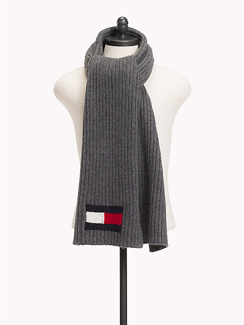 TOMMY HILFIGER Flag Knit Scarf - CHARCOAL HTR - TOMMY HILFIGER Winter Warmers - main image