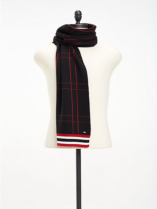 TOMMY HILFIGER Check Knit Scarf - BLACK - TOMMY HILFIGER Bags & Accessories - main image