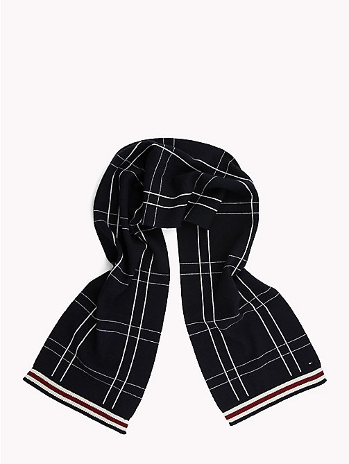 TOMMY HILFIGER Check Knit Scarf - TOMMY NAVY - TOMMY HILFIGER Bags & Accessories - detail image 1