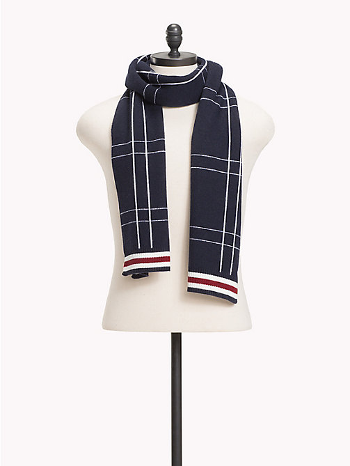 TOMMY HILFIGER Check Knit Scarf - TOMMY NAVY - TOMMY HILFIGER Bags & Accessories - main image