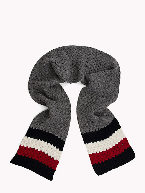 TOMMY HILFIGER Colour-Blocked Bubble-Knit Scarf - MID GREY HTR - TOMMY HILFIGER NEW IN - detail image 1