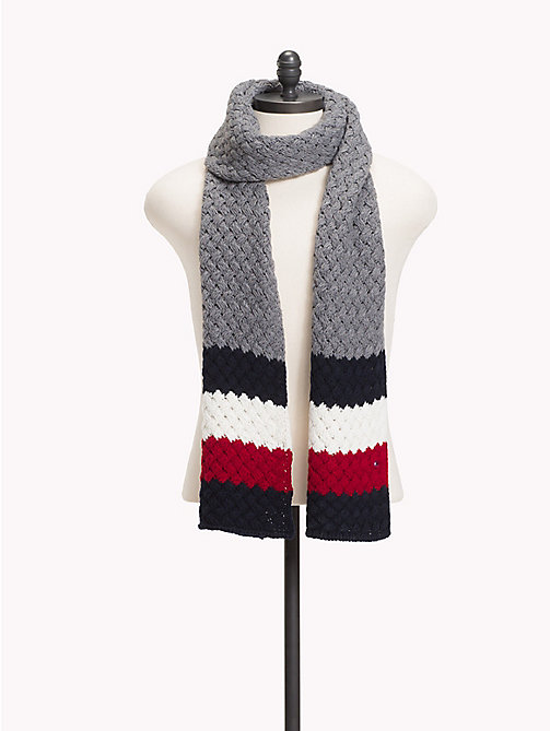 TOMMY HILFIGER Colour-Blocked Bubble-Knit Scarf - MID GREY HTR - TOMMY HILFIGER NEW IN - main image