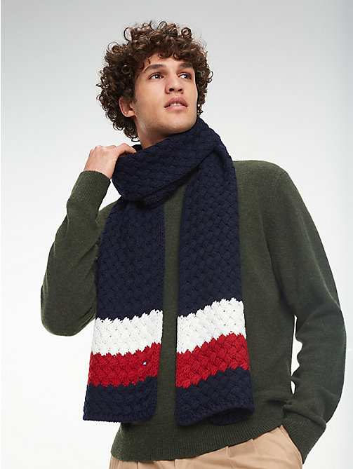 TOMMY HILFIGER Colour-Blocked Bubble-Knit Scarf - CORPORATE - TOMMY HILFIGER Bags & Accessories - main image