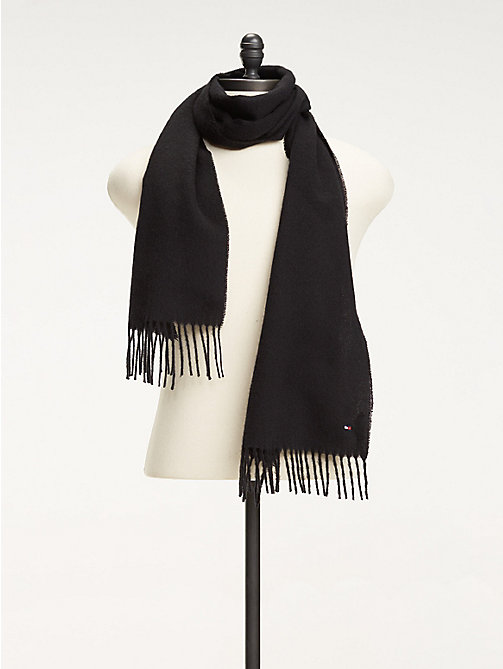 TOMMY HILFIGER Pure Wool Scarf - BLACK - TOMMY HILFIGER Bags & Accessories - main image