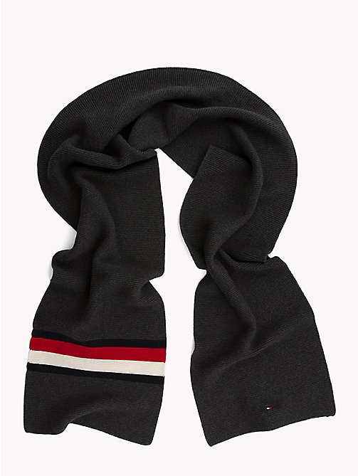 TOMMY HILFIGER Heritage Corporate Knit Scarf - CHARCOAL HTR - TOMMY HILFIGER Bags & Accessories - detail image 1
