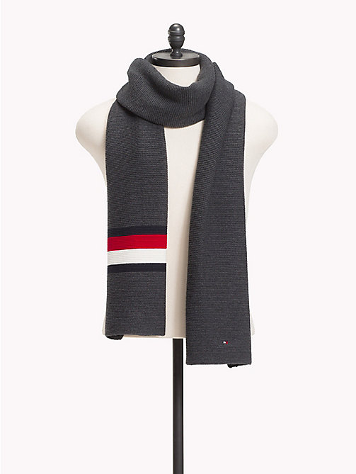 TOMMY HILFIGER Heritage Corporate Knit Scarf - CHARCOAL HTR - TOMMY HILFIGER Scarves - main image