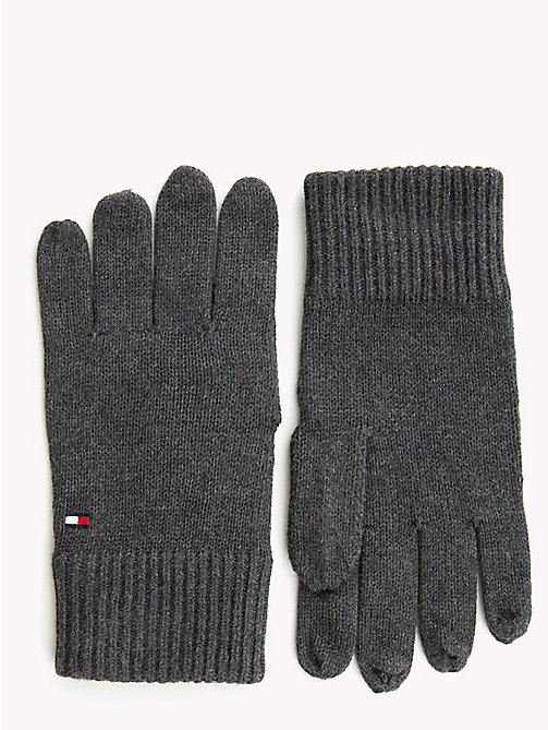 TOMMY HILFIGER Cotton Cashmere Gloves - CHARCOAL HTR - TOMMY HILFIGER Gloves - main image