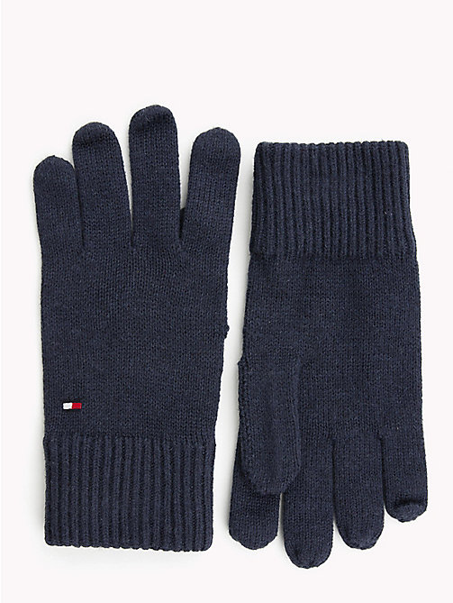 TOMMY HILFIGER Cotton Cashmere Gloves - TOMMY NAVY - TOMMY HILFIGER Gloves - main image