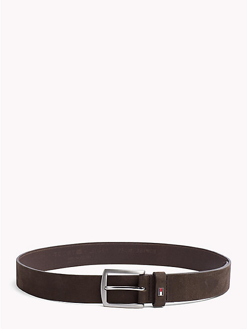 TOMMY HILFIGER Nubuck Leather Belt - TESTA DI MORO - TOMMY HILFIGER Bags & Accessories - main image