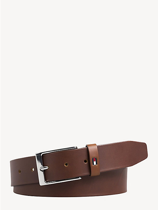TOMMY HILFIGER Matte Buckle Leather Belt - DARK TAN - TOMMY HILFIGER Belts - main image