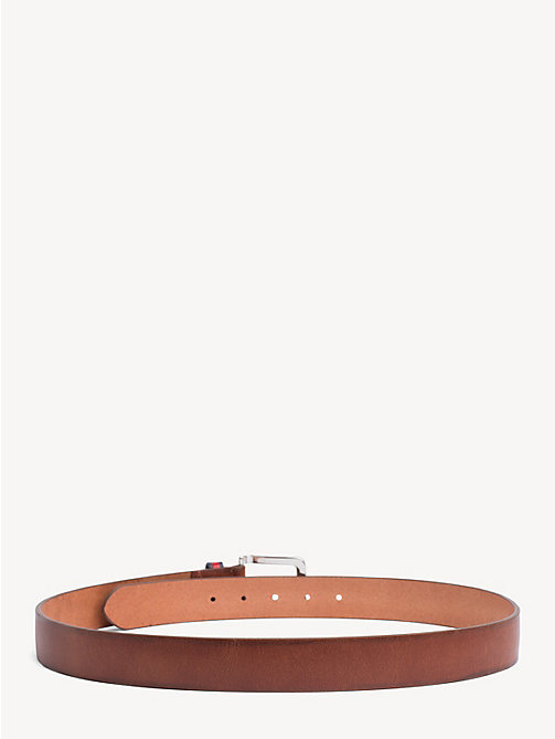 TOMMY JEANS Flag Keeper Leather Belt - DARK TAN - TOMMY JEANS Belts - detail image 1