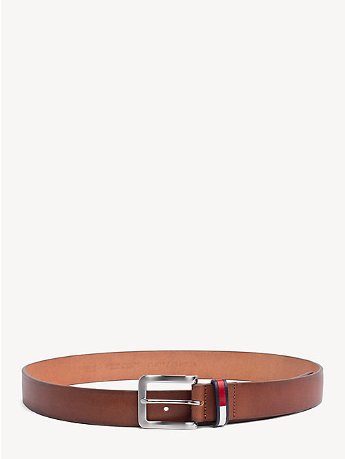 TOMMY JEANS Flag Keeper Leather Belt - DARK TAN - TOMMY JEANS Belts - main image