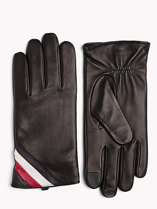 TOMMY HILFIGER Signature Colour-Blocked Leather Gloves - BLACK - TOMMY HILFIGER Gloves - main image