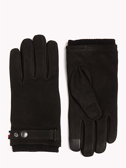 TOMMY HILFIGER Cuff Strap Leather Gloves - BLACK - TOMMY HILFIGER Gloves - main image