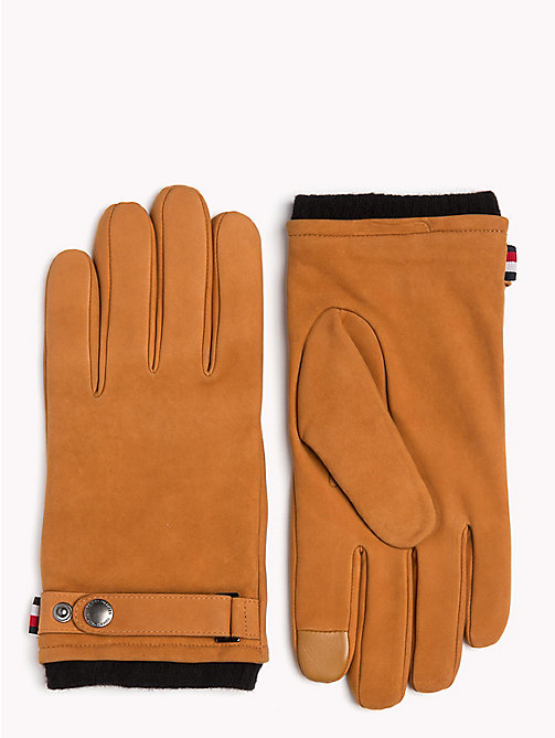 TOMMY HILFIGER Cuff Strap Leather Gloves - COGNAC - TOMMY HILFIGER Gloves - main image