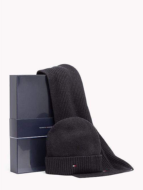 TOMMY HILFIGER Cotton Scarf and Beanie Set - BLACK - TOMMY HILFIGER Gifts for Him - main image