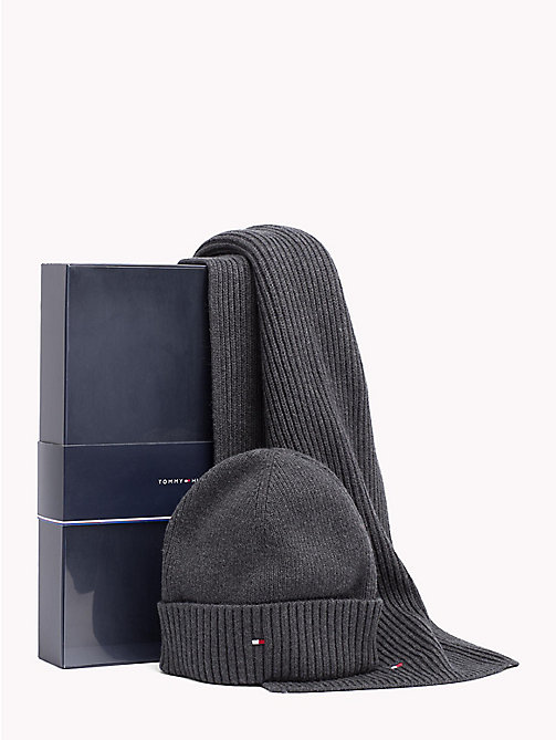 TOMMY HILFIGER Cotton Scarf and Beanie Set - CHARCOAL HTR - TOMMY HILFIGER NEW IN - main image