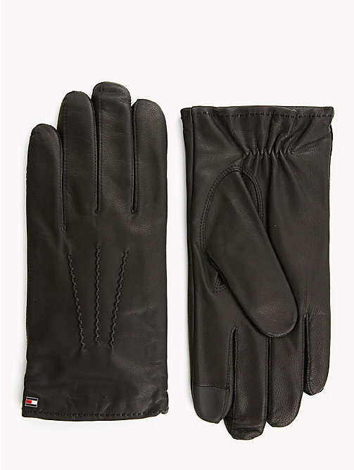 TOMMY HILFIGER Classic Leather Gloves - BLACK - TOMMY HILFIGER Gloves - main image
