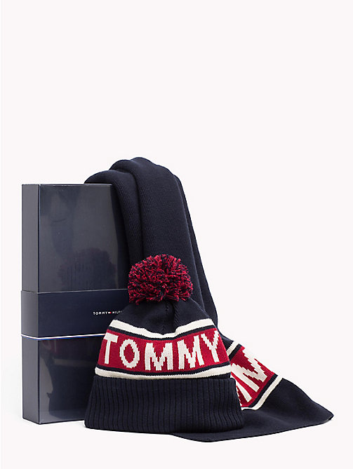 TOMMY HILFIGER Logo Scarf and Beanie Set - CORPORATE -  NEW IN - main image