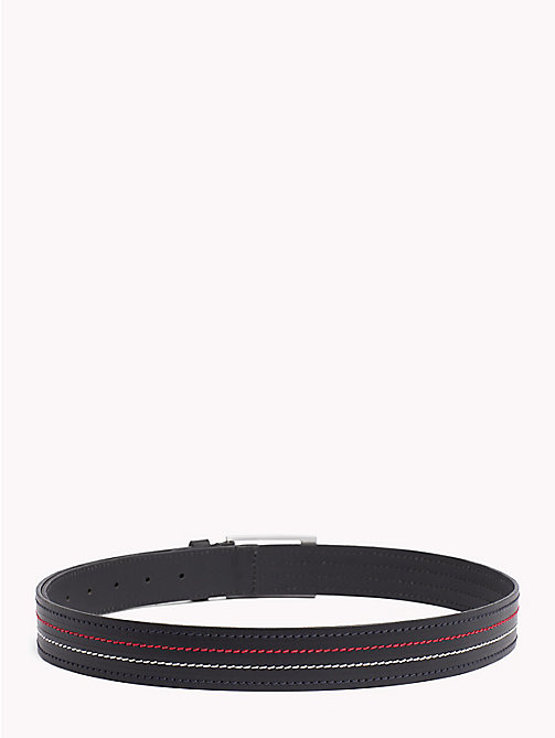 TOMMY HILFIGER Inlay Stitch Leather Belt - BLACK - TOMMY HILFIGER NEW IN - detail image 1