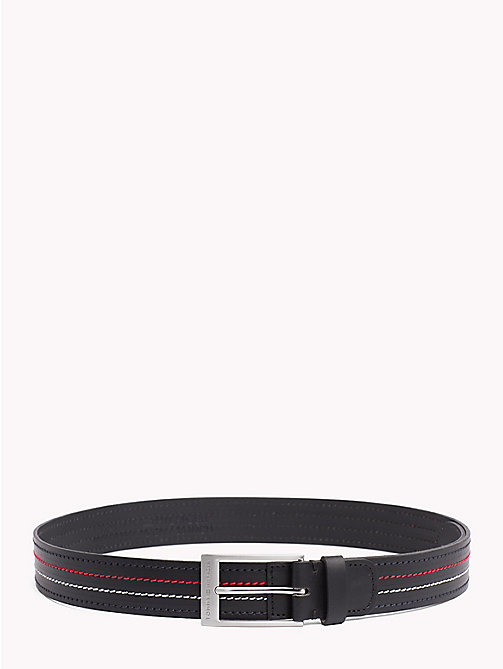 TOMMY HILFIGER Inlay Stitch Leather Belt - BLACK - TOMMY HILFIGER NEW IN - main image