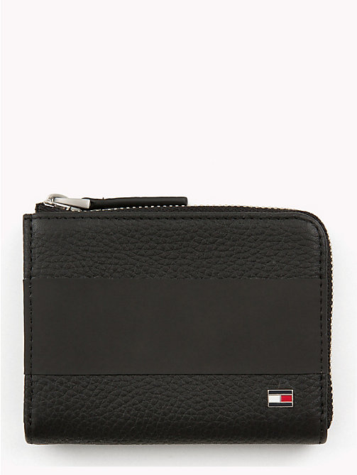 TOMMY HILFIGER Tommy Tape Zip-Around Leather Wallet - BLACK - TOMMY HILFIGER Wallets & Keyrings - main image