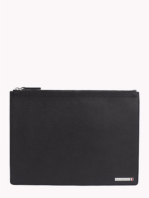 TOMMY HILFIGER Plaque Textured Leather Pouch - BLACK - TOMMY HILFIGER What to wear - main image