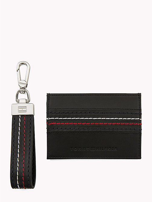 TOMMY HILFIGER Signature Stitch Cardholder and Key Fob Set - BLACK - TOMMY HILFIGER NEW IN - main image