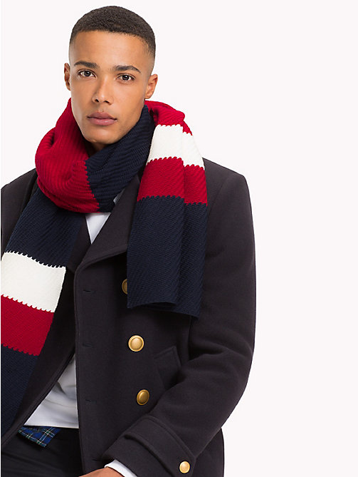 TOMMY HILFIGER Lewis Hamilton Stripe Scarf - TOMMY NAVY - TOMMY HILFIGER Bags & Accessories - main image