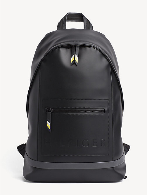 TOMMY HILFIGER Logo Embossed Backpack - BLACK / ASPHALT - TOMMY HILFIGER NEW IN - main image