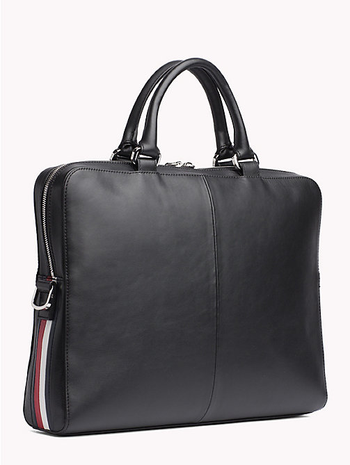 TOMMY HILFIGER Signature Tape Leather Laptop Bag - BLACK - TOMMY HILFIGER Laptop Bags - detail image 1