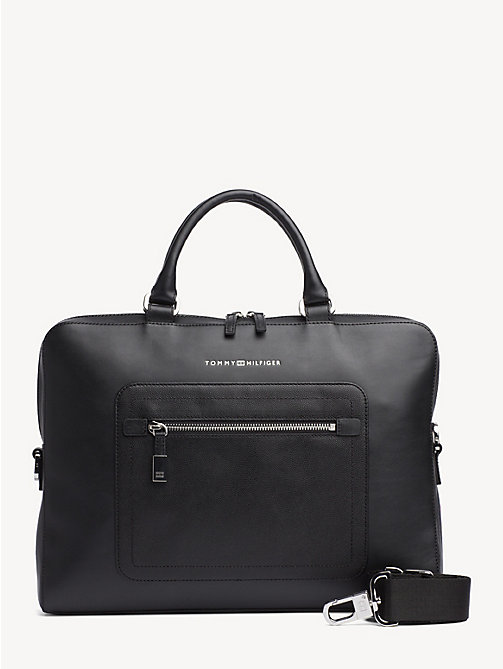 TOMMY HILFIGER Signature Tape Leather Laptop Bag - BLACK - TOMMY HILFIGER Laptop Bags - main image