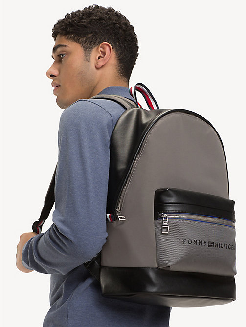 TOMMY HILFIGER Signature Tape Handle Backpack - GREY BLACK - TOMMY HILFIGER NEW IN - detail image 1
